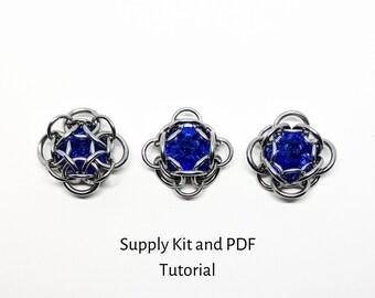 Lyrae Capture Rivoli Chainmaille Pendant Kit, Makes 2 pendants, PDF Tutorial Included, Make it Yourself, Supply Kit