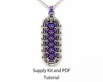 Grimalkin Pendant Kit, PDF Tutorial Included, Chainmaille Kit, Titanium and Stainless Steel Rings with Titanium balls, make it yourself, DIY