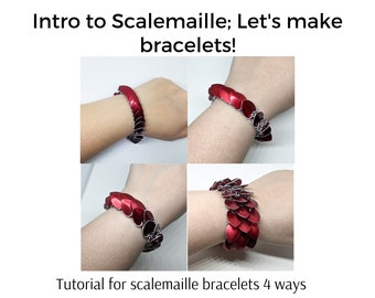 Intro to Scalemaille Tutorial, Chainmaille Bracelet Tutorial, PDF TUTORIAL ONLY, digital download instuctions, Make it Yourself, diy