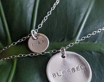 Handmade I Am Blessed Affirmation Necklace Bundle | Sterling Silver, Hand-Stamped Pendants