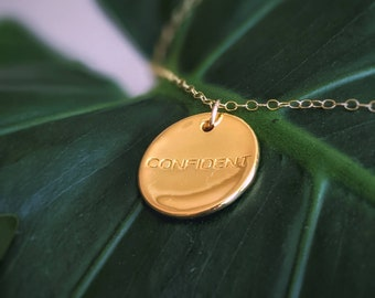 """Empowering Gold Large Confident Affirmation Necklace 