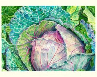 Osaka Red Cabbage Gouache Illustration