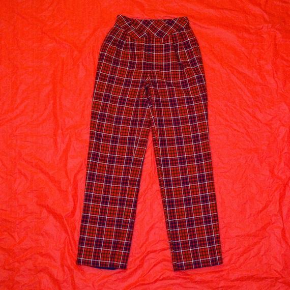 80s-Esque Plaid Holiday Pants - image 1