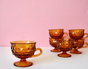 Set of 3 Vintage Amber Glass Tea Cups