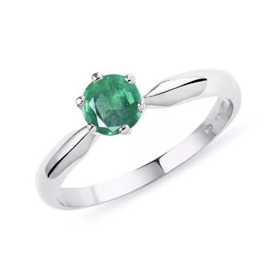 uniquelan jewelry protection May birthstone solitaire ring Natural raw emerald ring with 925 sterling silver adjustable ring perfect for ring size 6 to 8