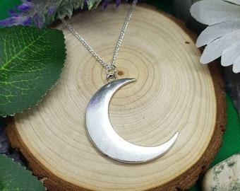 Large Crescent Moon Pendant Necklace Spiritual Wicca Boho Mother Nature Moonchild Magick Luna