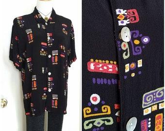 Vintage Chico/'s Black Gold 1990s 90s Sheer Brocade Pattern Band Collar Long Sleeve Shirt Size 2 L Silk Career Wear Mix N Match Style EC BIN