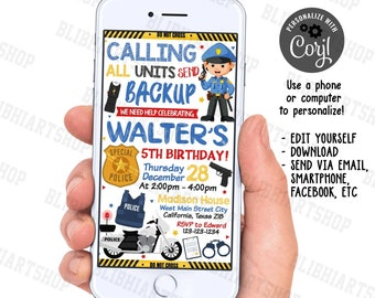 Police Birthday Invitation, Policeman Party, Police Party Invitation, Police Theme, Boy, Printable Digital - Instant Download