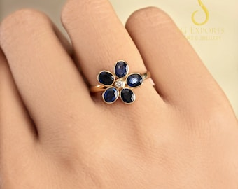 SapphireAmethyst Gemstone Natural Pave Diamond Ring 925 Solid Sterling Silver AntiqueVintageVictorian Fine Handmade Jewelry Gift.