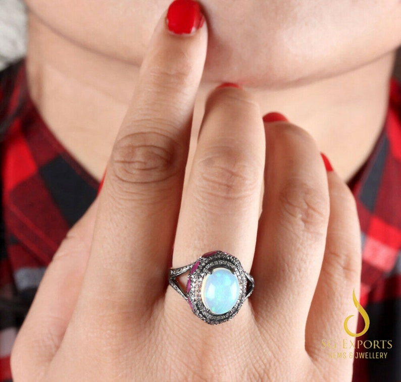 Christmas Gift Natural Opal Engagement Ring 925 Solid Sterling Silver Opal Birthstone Ring Natural Pave Diamond Ring Black Friday Sale