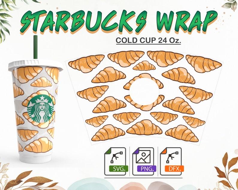 Starbucks wrap svg Bakery Starbucks Svg Croissant Starbucks Svg 24oz venti cold cup Full wrap Starbucks SVG files for Cricut