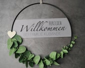 Door wreath eucalyptus - Welcome to family - black 30 cm - decoration metal ring matt coated