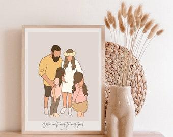 Custom Illustration with Outline   Minimalist Digital Portrait Gift   Birthday   Anniversaries   Couples   Family   Christmas   Digital Art
