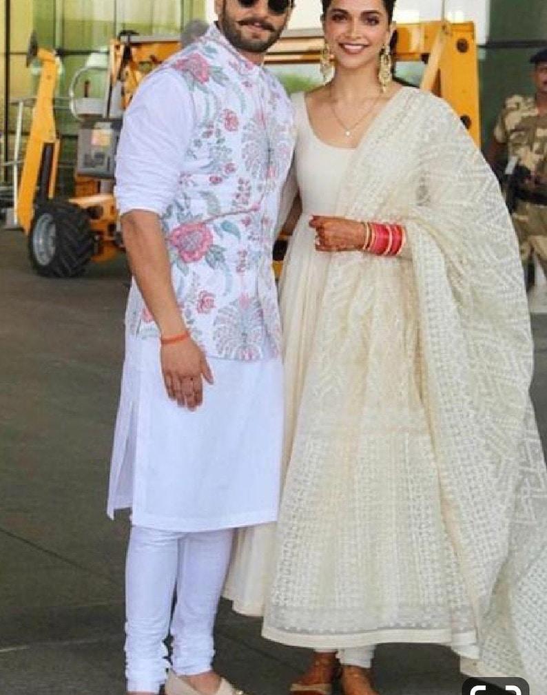 India Floral Printed Kurta pajama Set with White Cotton Kurta pajama For  Partywear Wedding Functions Eid Diwali with Waistcoat jacket
