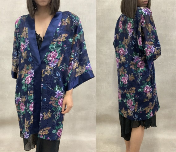 Beautiful Vintage California Dynasty Navy Floral R