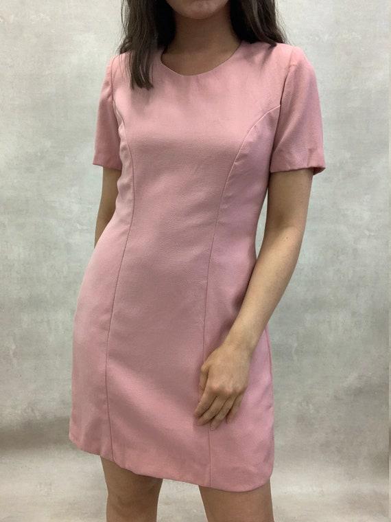 Vintage Baby Pink Shift Dress with Shoulder Pads (