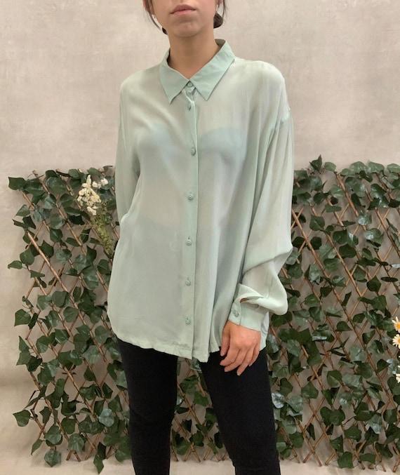 Vintage 80s 90s Perte by Krizia Mint Green Long Sleeve Blouse M