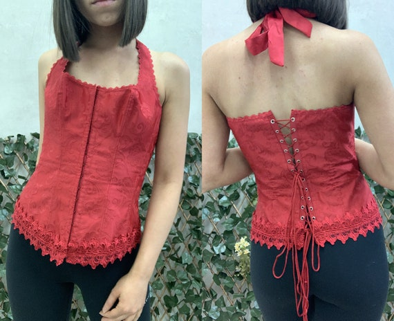 Frederick's Of Hollywood Red Sexy Bustier Corset T