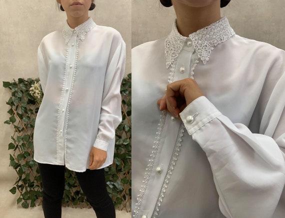Vintage White Silk Blend Lace Collar Blouse (M/L)
