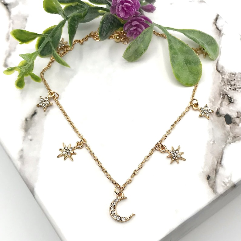 baddie fashion star necklace 90s style gold crescent moon necklace iced out celestial Star charm necklace sailor moon style