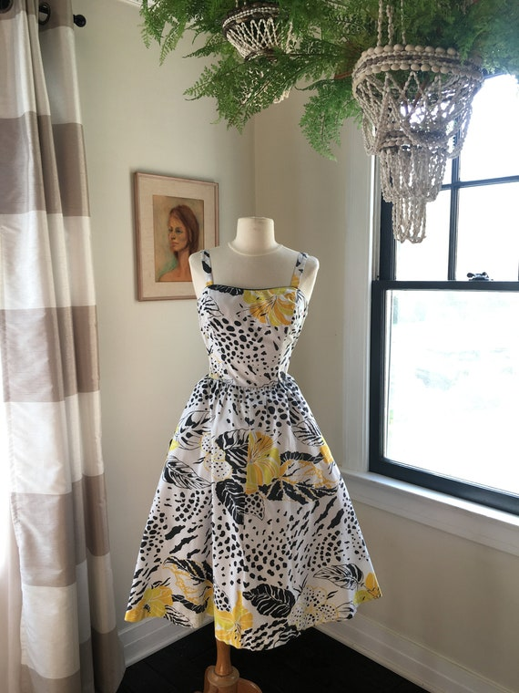 Medium to Large 1980s does 50s Wild Print Dress