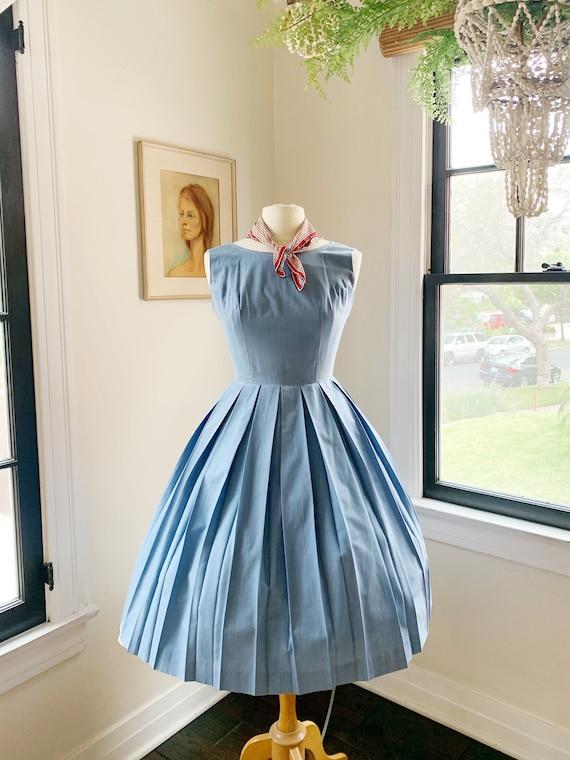 1950s Denim Swing Dress