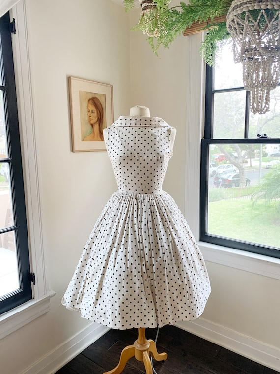 1950s Black and White Polka Dot Spring Dress