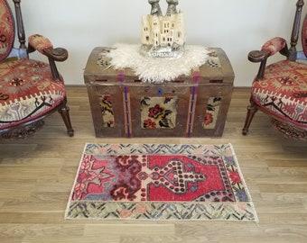 boho rug vintage rug small rug oushak rug 1.1 x 2.5 ft. decorative rug turkey rug wool rug frontdoor rug turkish small rug