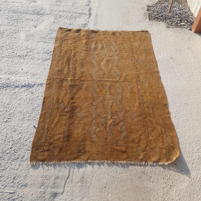 3.5x5.3 ft nomadic kilim natural kilim vintage kilim turkish kilims organic kilim faded geometric kilim ethnic kilim