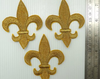 Metallic Gold Fleur-De-Lis Iron-On Appliques 5 Pieces