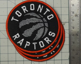 """3/"""" Inch..New TORONTO RAPTORS Logo ROUND Embroidered Iron on Patch Crest Badge"""