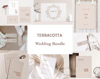 Terracotta Wedding Template Bundle, Editable Wedding Mega Bundle, Bohemian Wedding Kit, Modern Wedding Invitation Set Printable