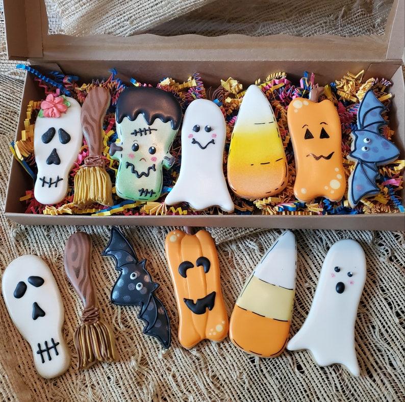 Ghost Broomstick Ghost Candy Corn Bat and Frankenstein Halloween Stick Cookie Cutter Set of 7 Pumpkin