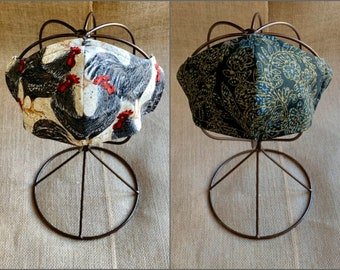 MEDIUM FACE MASK | 3 Layers | Reversible • Roosters and Black Filigree | M • Women • Teens