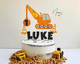 153 Personalised Premium Children/'s Birthday Glitter Digger Cake Topper