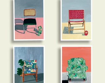 set of 4 chairs A4 prints