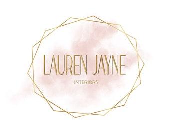 Premade Logo, Modern Pink and Gold, Feminine Paint Logo, Classic Stylish Small Business Branding, Script Logo, Interior Design