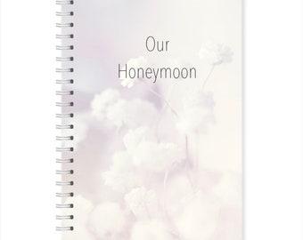 A5 Hardback Grey Delicate Floral Honeymoon Planner, Travel Journal Notebook