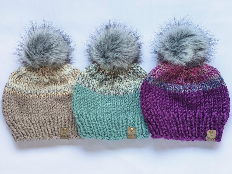Purple Knit Hat Removable Fur Pom Beanie,Purple Chunky Knit Beanie,winter Hat,Winter Beanie 2 tone beanie,2 tone hat,handmade beanie