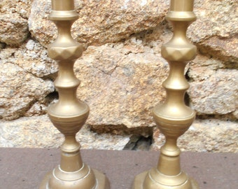Pair of Vintage French Solid Bronze Candlesticks
