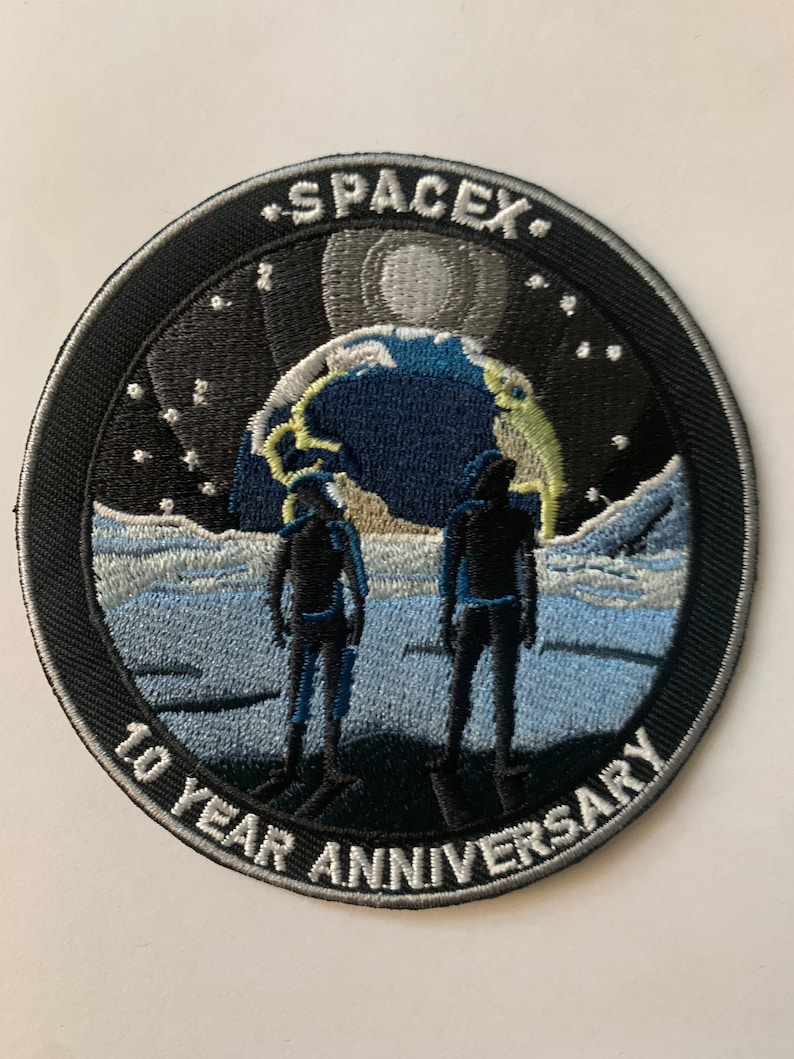 SpaceX 10 Year Anniversary Mars Mission Launch Patch Iron on 3.5\u201d