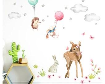 Little Deco Aufkleber Deko Waldtiere Sticker Reh Hase Mädchen Wandtattoo DL488