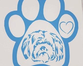 decal tags dog label window sticker custom Shih Tzu car decals popular Paw Print sticker vinyl trending