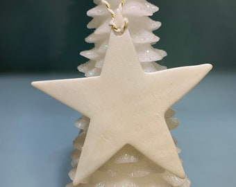 Star Shaped Polymer Clay GoldMustard Glitter Christmas DecorationOrnament