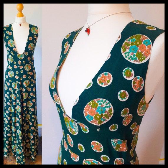 Vintage bottle green patterned cottagecore maxi dr