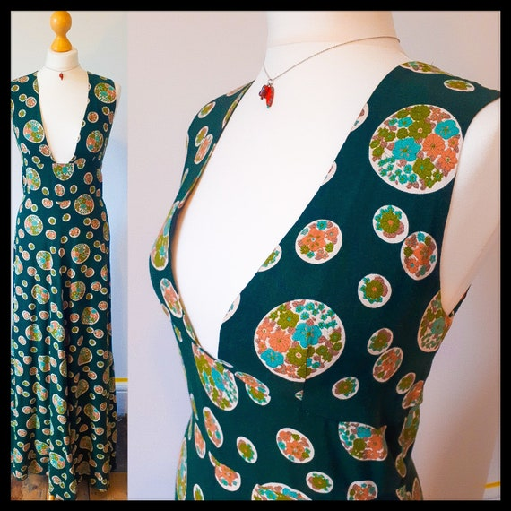 Vintage bottle green patterned cottagecore maxi d… - image 1