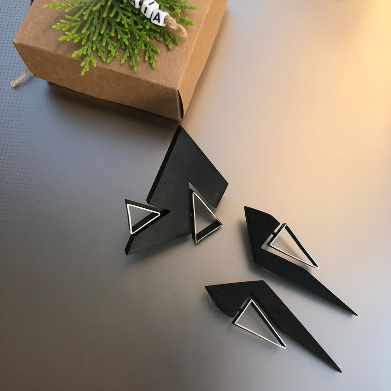 Modern Statement Ring and Earrings 5th Anniversary Gift Contemporary Geometric Jewelry Set Wooden Silver Jewelry Set for Wife