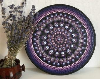 Mandala Record Hand Painted, Vinyl Dot Painting, Dot Art Plate, Gift, Unique, Wall Art, Purple & Pink, Meditation, Anti-Stress, Yoga