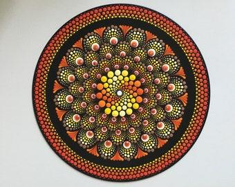 Mandala record in orange and yellow, dot painting on vinyl, dot art gift, wall art, meditation, anti-stress, unique piece, yoga