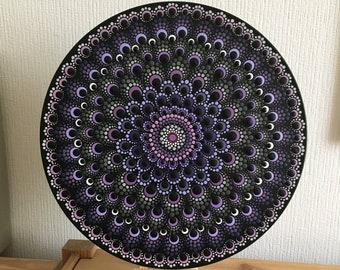 hand-painted dot art record, dot painting on vinyl, dot art gift, mandala, purple, grey, wall art, meditation, yoga